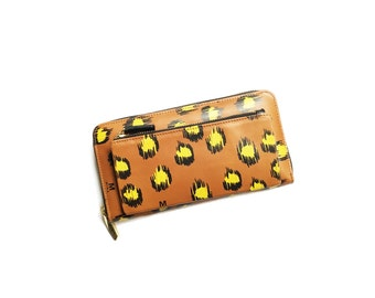 OUTLET Leather Wallet Leopard Print Design - Hand made Hand painted - Tan Brown - Soft genuine leather