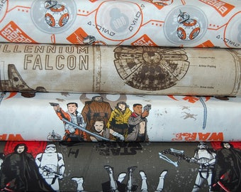 Star Wars Episode VIII/8 The Last Jedi 100% Cotton Fabric Characters/Droid/Millennium Falcon Quilting/Crafting Fat Quarter