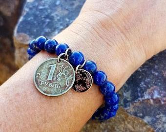 Lapis Coin Bracelet