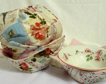 Set of 4 Bowl Cozies  - Cozy - Vintage Rose - Shabby Chic Rose