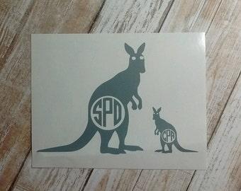 Kangaroo  Baby Decal/ Kangaroo Monogram /Kangaroo Initials /Vinyl Decal/ Initial Monogram/Kangaroo Doe  & Joey Monogram/HTV Decal/Aussie