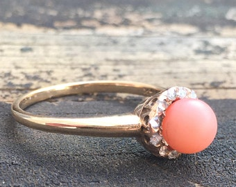 Coral Ring Victorian Mine Cut Diamond Halo Vintage Engagement Ring 14K Mermaid Ring Antique Art Deco Coral Ring Unique Engagement Ring