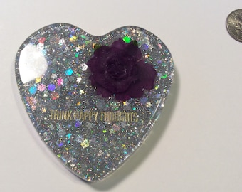 Think Happy Thoughts glitter resin Christmas ornament