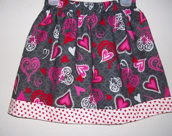5t Girls Skirt with Hearts Grey Skirt Red and Pink toddler skirt Kids Clothes Queen of Hearts Wonderland Party Ready to Ship