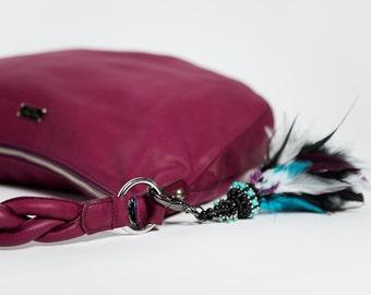 Handbag shoulder strap or saddle/ Spain/ full grain leather/ violet