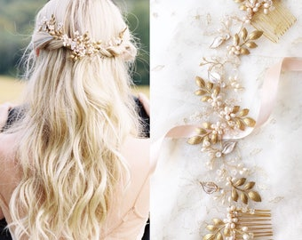 Golden Leaf hair piece, Laurel Leaf hair vine, Boho, Bridal Headpieces, Wedding Accessories, Vintage, Floral hair piece, Style 1011