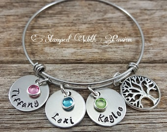 Mom Personalized birthstone bracelet name bracelet with family tree charm Mommy Jewelry Kids name Bracelet Childrens name mothers day gift