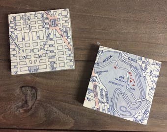 Vintage Washington D.C. Map Magnets featuring the National Zoo and Stanton Park, Set of 2