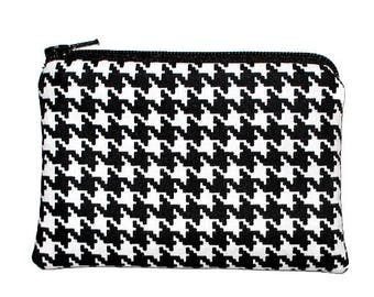 Black and White Houndstooth Coin Change Purse Small Zipper Pouch