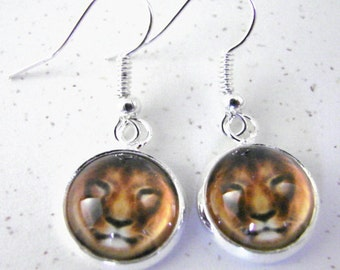 LION Silver Dangle Earrings -- Petite earrings featuring the face of a magnificent lion,   Leo Zodiac earrings
