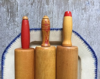 INSTANT COLLECTION 3 Vintage Rolling Pins - Painted Red Handles + Hardwood - Farmhouse Cottage Kitchen Pantry + Buttery - Bridesmaid Gift