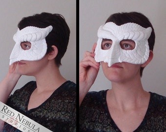 Resin wolf mask blank stylized wolf face mask wolf stylized owl mask blank masquerade mask ready to paint horned owl masque solutioingenieria Gallery