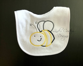 Bee Baby Bib, Gender Reveal Baby Bib, What Will it Bee Gift, Neutral Baby Gift, Bumble Bee Embroidered Baby Bib, Unique Baby Gift, Unisex