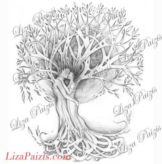 tree of love tattoo design original romatic tree drawing of. Black Bedroom Furniture Sets. Home Design Ideas