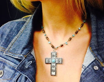 Southwest Cross Necklace - Easter Gift - Country Girl - Cowgirl - New Mexico - Texas Style - Gift for Her, Religious Jewelry