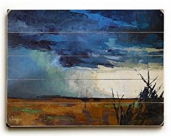Abstract Landscape Giclee Print on Wood Plank,  Storm painting Print,  Wood Wall Art, free shipping, Choose your size, Ready to Hang