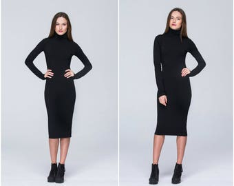 Classic Midi Dress , Black Dress , Long Sleeves Casual Dress , Elegant Black Winter Dress , Mock Neck , Minimalist А0002