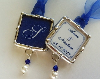 Wedding Bouquet Charm, Something Blue Pendant, Soldered Glass, Monogram Pendant Personalized, Bridesmaid Gift, Bridal Party, Photo charm