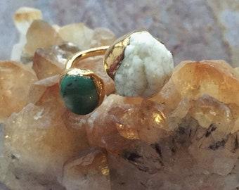 Chrysoprase and Magnesite Ring / Gemstone Ring / Gold Electroformed Double Gemstone Ring size 6.5