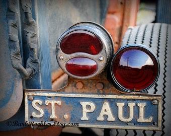St. Paul Oldie - Rustic Wall Art - Classic Car Art Prints - Retro Print - Vintage Car Photography - Garage Art - Tail Lights - 8x10