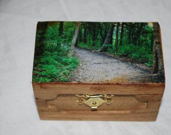 Wooden treasure box forest path photograph keepsake photo box