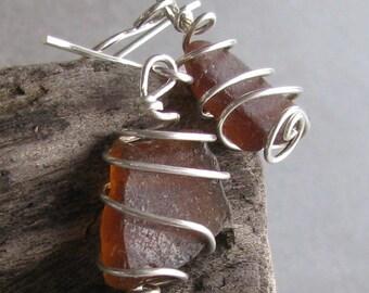 Sea Glass Earrings Sterling Silver Genuine Sea Glass Jewelry