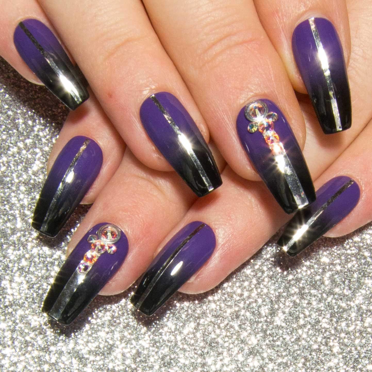 Lange Nägel in Sarg lila falsche Nägel drücken Sie auf
