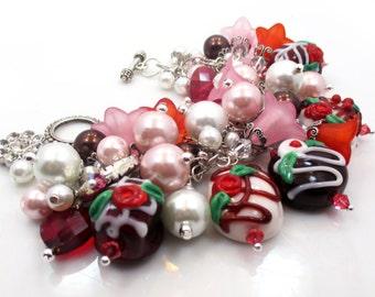 Charm Bracelet, Lampwork Bracelet, Beaded Bracelet, Silver Lampwork Bracelet, Beaded Lampwork Bracelet, Statement Jewelry, DECADENCE