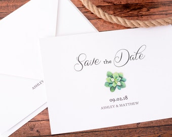 "Simple Succulent - Save The Date Cards - 5"" x 7"" Wedding Announcement Card - Save The Dates - Custom Save the Date - Photo Cards - #satd-250"