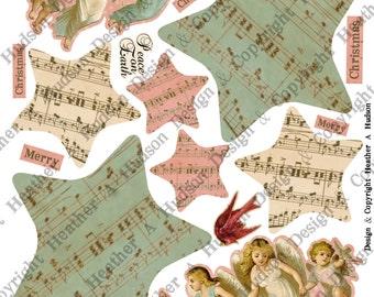 Vintage Angels Peace On Earth  Christmas Tree  tag Ornament  Digital Collage sheet Printable