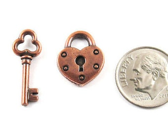 TierraCast Pewter Charms-Copper Heart Lock & Key Set