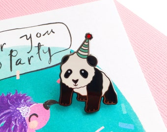 Pete The Party Panda Enamel Pin | Cute Enamel Lapel Pin | Cute Pin | Party Animal | Celebration Lapel Pin | Party Hat | Birthday Pin | Panda