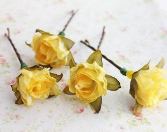 Glorious Sunshine Yellow Flower Hair Pins. Woodland. Autumn. hair accessories, Rustic Wedding, Fall Wedding.