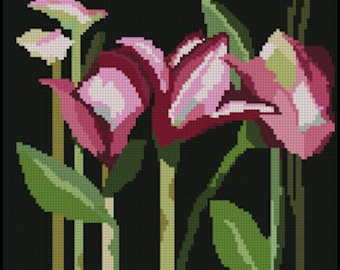 Digital (part 2) Needlepoint or Cross Stitch Pink Day Lilies