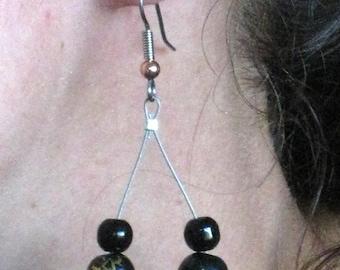 Black loop earrings - Original beads work - Handmade dangle earrings - one of a kind