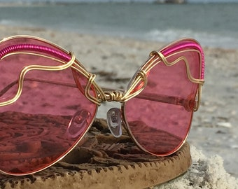 PiNK BuTTerFly Sunglasses ~ Artisan Wire Wrapped Sunglasses, Hippie Boho Gypsy Sunnies Eyewear, Every Pair is a piece of art FREE Shipping