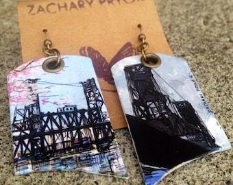 Steel Bridge Cherry Blossoms earrings - pdx hand-painted earrings - Portland, Oregon