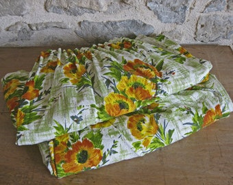 Long barkcloth curtains, pair of French 1960s green, yellow, orange floral curtains