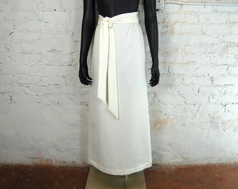 Vintage 1970s Joyce Ivory White Maxi Skirt w/ Tie Belt (5/6) - Wedding