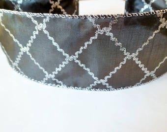 Wide black and silver ribbon with baroque print