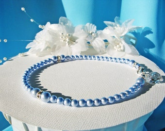 Something Blue Anklet Swarovski Crystal Wedding Jewelry Pearl Ankle Bracelet