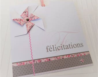 Card of congratulations with windmill and its envelope