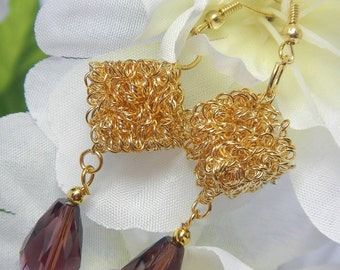 Gold Tone Cube Earrings with Dark Rose Tear Drop Glass Bead Dangle Earrings Rose Bead very light weight Convert to Clip