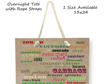 Vegetable Tote Bag-List of Veggies-Cross Body Tote-Weekend Bag-Large Tote Bag-Vegetable Canvas Bag-Shoulder Tote Bag-Farmers Market Bag