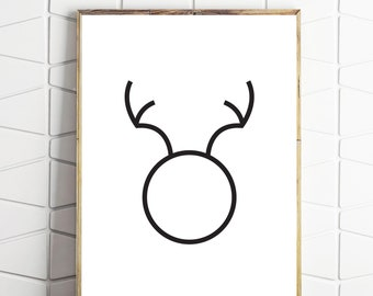 minimal deer art, minimalist deer, deer simple design, minimal animal art