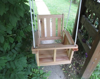 Child's (Toddler's) cypress wood porch swing, natural finish,(waterseal)