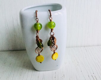 Green yellow drop earrings with copper wirework