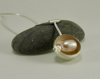 Sterling Silver and Pink Pearl Orb Necklace - N1431