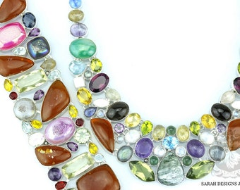 Baltic AMBER SERAPHINITE DRUSY Topaz 925 Solid Sterling Silver Necklace Set 170