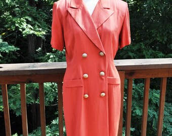 1980s office dress in rust. 12 Petite. Short sleeve coat style shift. Dani Michaels Spring Dress.